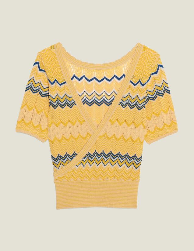 산드로 Sandro Wrapover knit top,Yellow