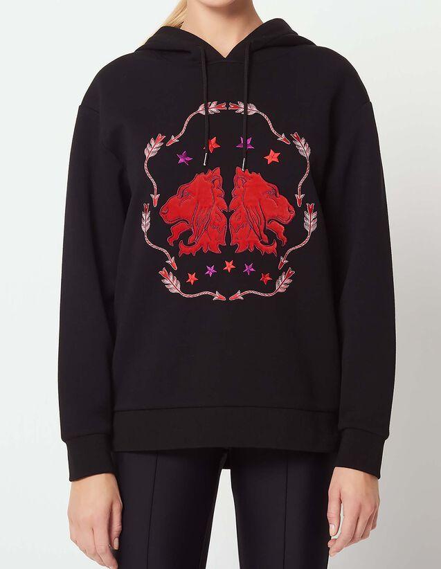 산드로 산드로 Sandro Embroidered hoodie,Black