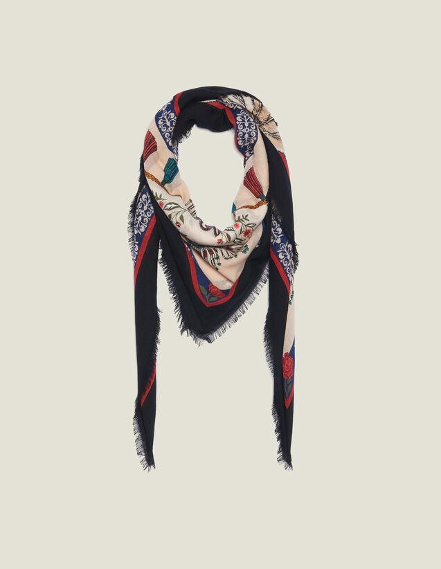 산드로 스카프 Lma Sandro Printed Wool Scarf,Multi-Color