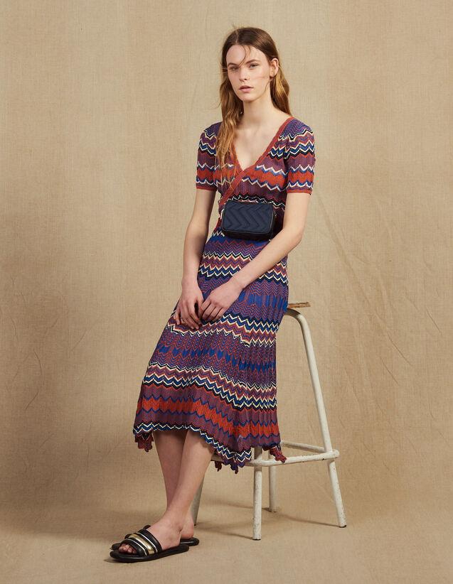 산드로 롱 니트 플리츠 치마 Ali 롱 스커트 Sandro Long knit skirt with zigzag print,Terracotta