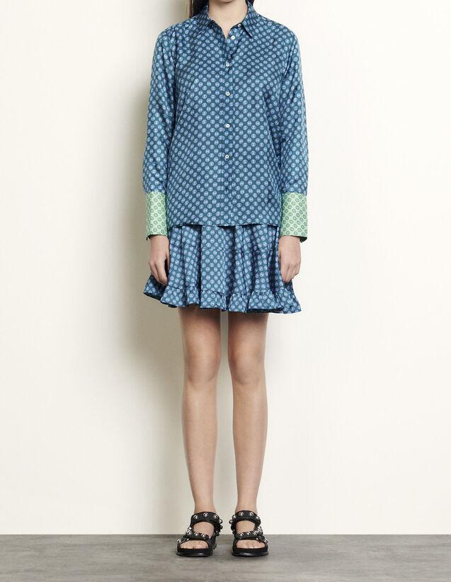 산드로 프린티드 실크 셔츠 - 포레스트 그린 Sandro Printed silk shirt