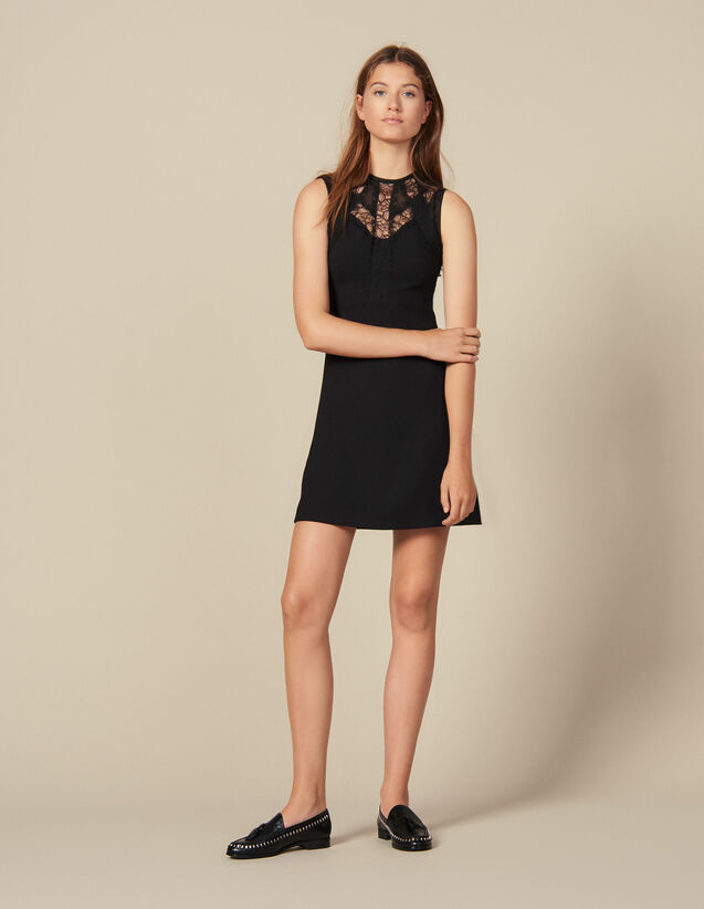 산드로 원피스 Sandro Dress with lace insets,Black