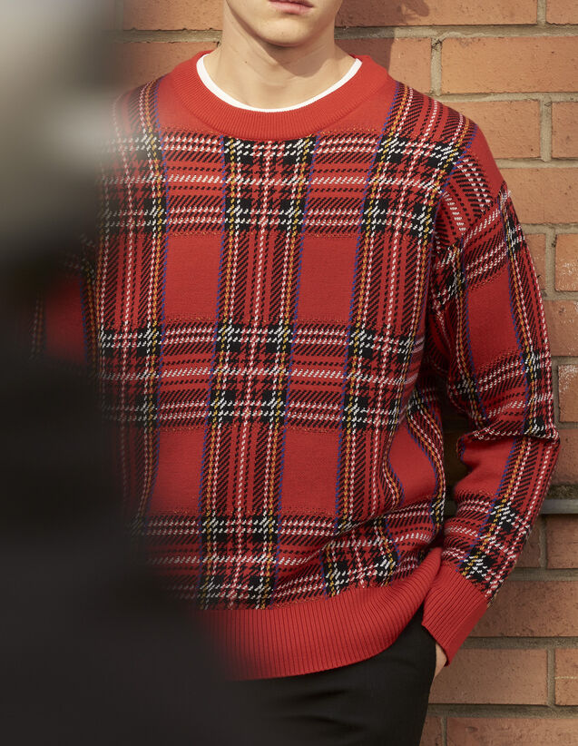 산드로 산드로 Sandro Tartan-effect knitted sweater,Red