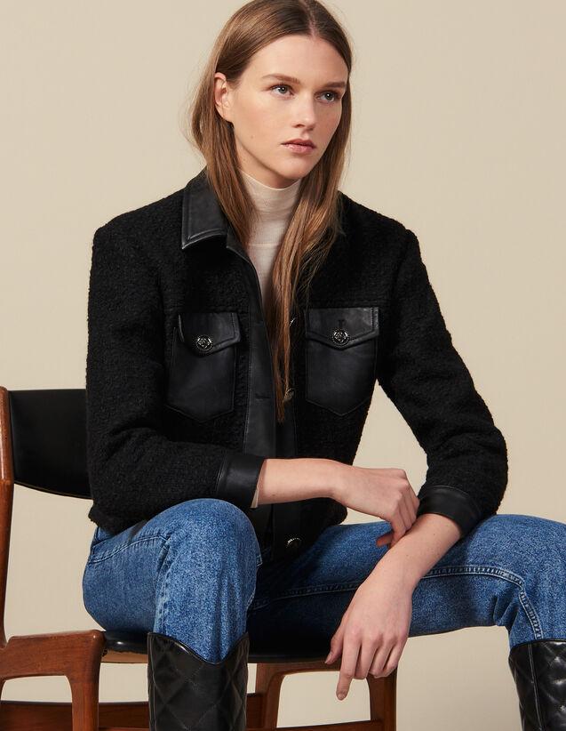 산드로 트위드 자켓 Sandro Tweed Jacket With Leather Trim,Black