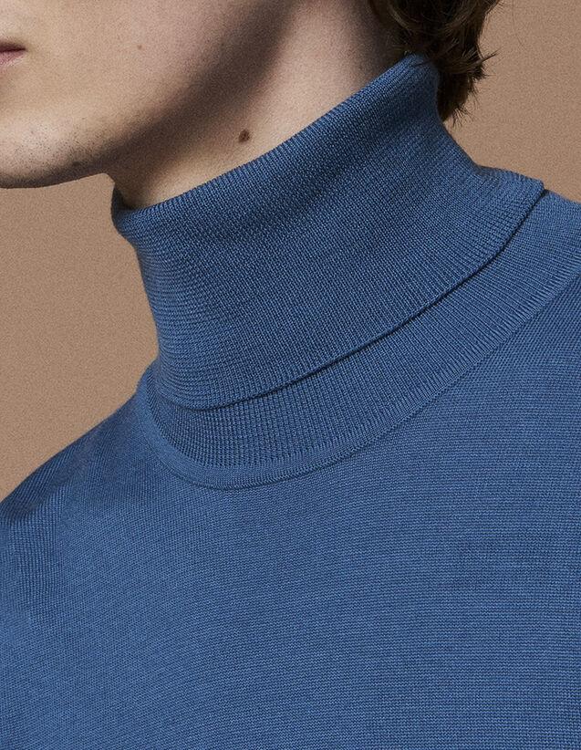 산드로 산드로 Sandro Roll neck wool sweater,Steel blue