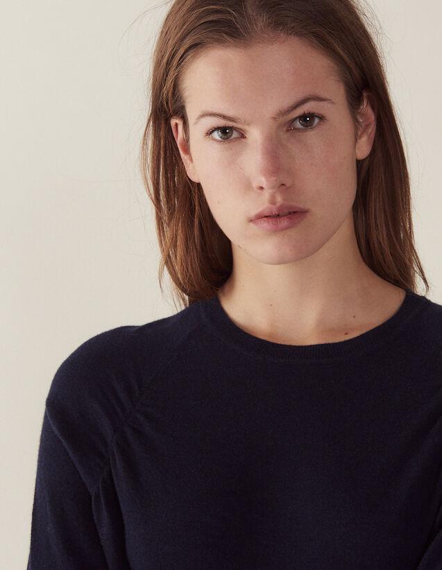 산드로 Na 암홀 라인 플리츠 스웨터 - 네이비 Sandro Long-sleeved wool sweater,Navy Blue