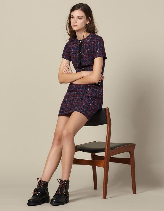 산드로 쇼트 트위드 원피스 Sandro Short tweed dress,Multi-Color