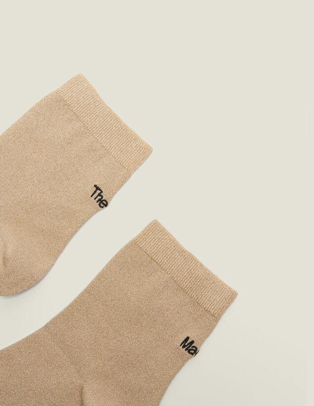 산드로 양말 Ornin Sandro Lurex Embroidered Socks,Gold