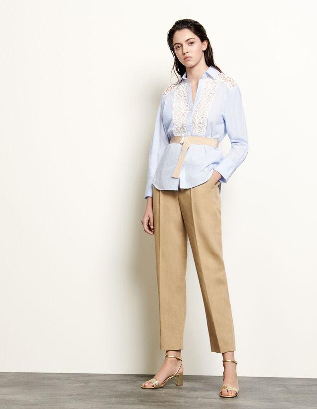 산드로 레이스 장식 셔츠 - 블루 Sandro Shirt with guipure inserts