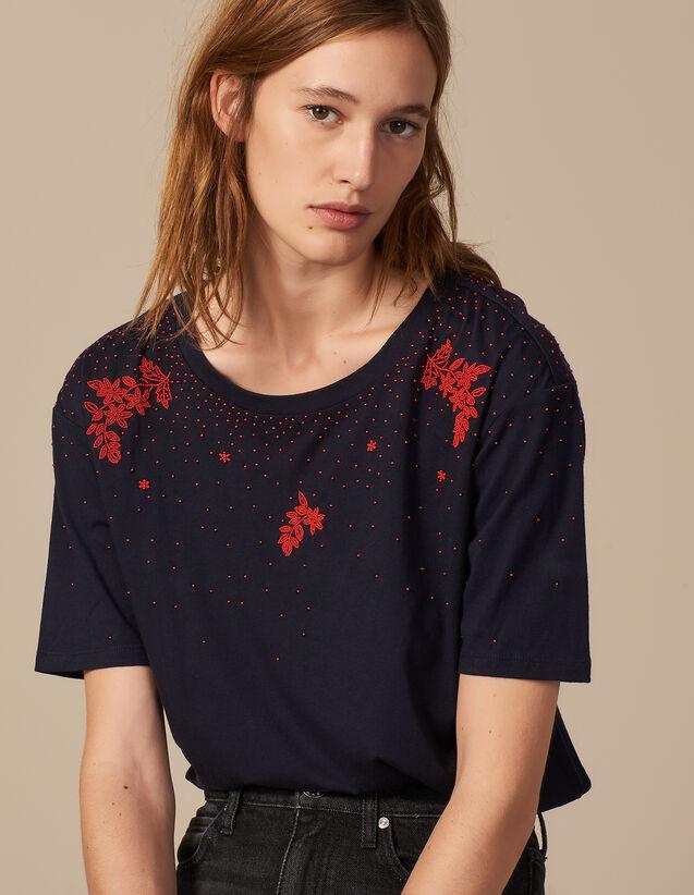 산드로 Némone 비즈 자수 반팔 티셔츠 SANDRO T-shirt embroidered with beads,Deep Navy