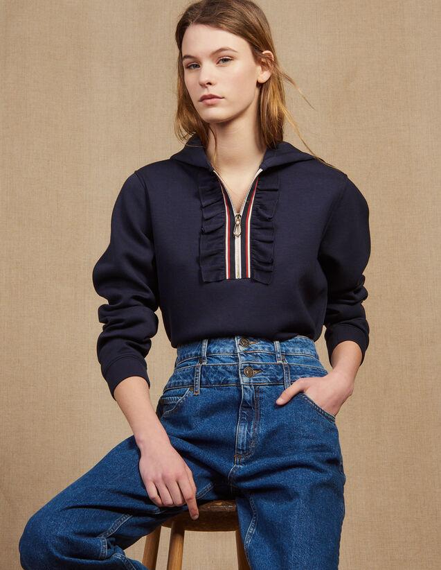 산드로 Sandro Hooded sweatshirt with braid trim zip,Navy Blue