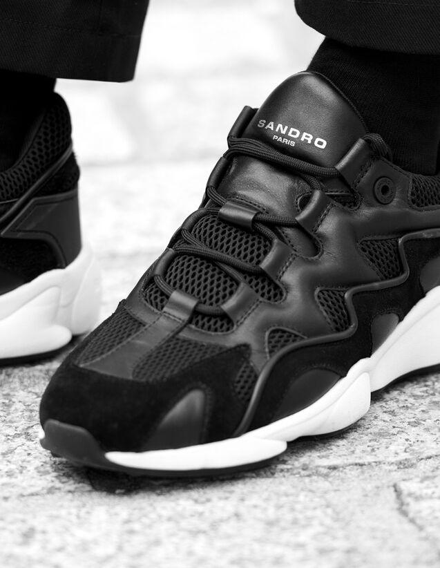 산드로 남성 스니커즈 Sandro Technical running sneakers,Black