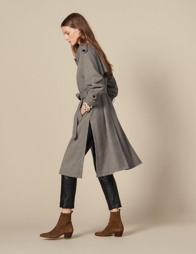 산드로 트렌치 코트 Sandro Trench Coat With Side Slits,Brown