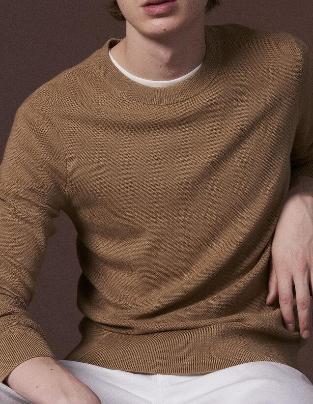 산드로 Sandro Fine fancy stitch sweater,Camel