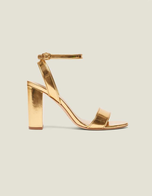 산드로 높은 궆 샌들 Drianne Sandro Heeled Sandals In Metallic Leather,Gold