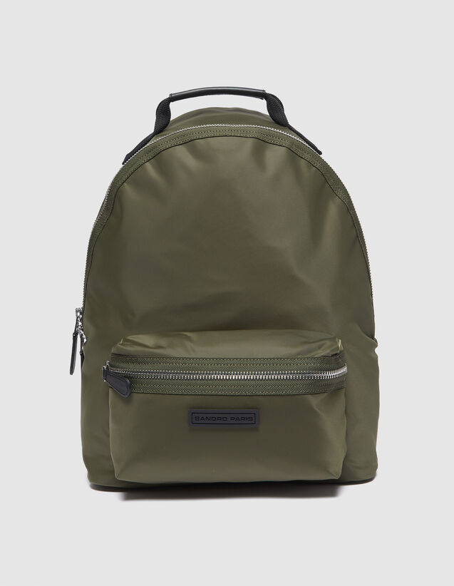 산드로 산드로 산드로 Sandro Backpack with contrasting interior,Olive Green