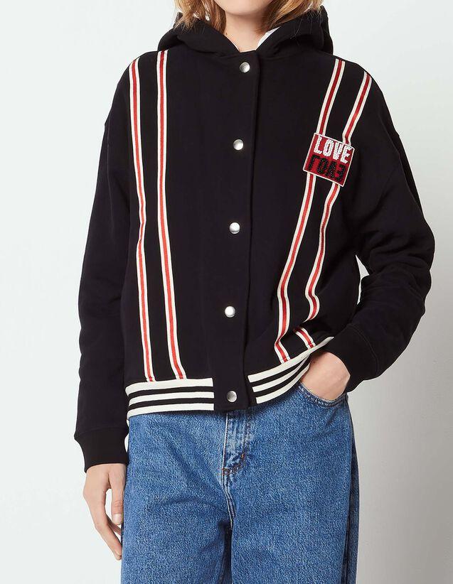 산드로 산드로 Sandro Baseball style hooded jacket,Black