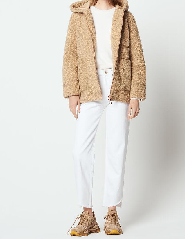 산드로 산드로 Sandro Short faux fur coat,Camel