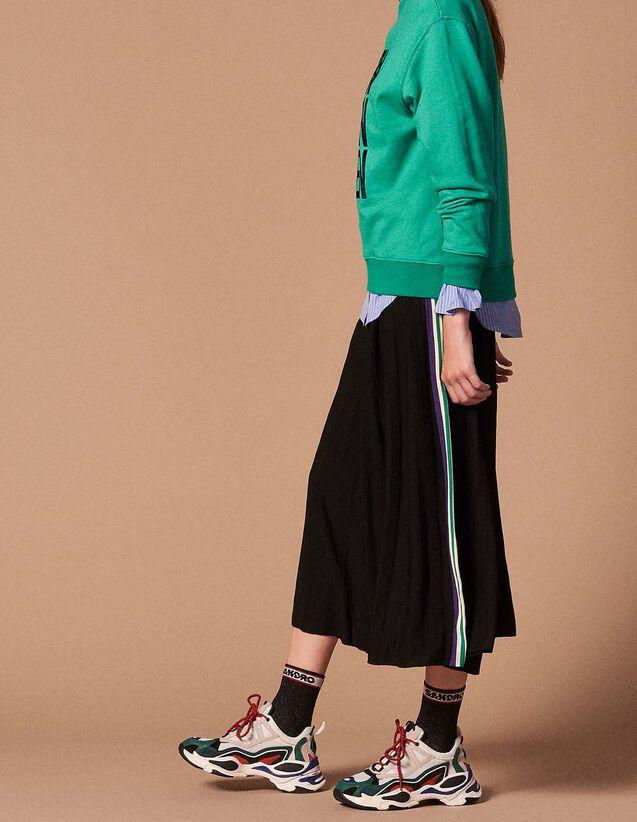 산드로 산드로 Sandro Pleated knit skirt,Black