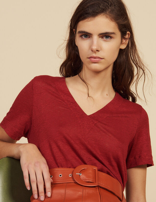 산드로 Ector Sandro Short-Sleeved Linen T-Shirt,Terracotta