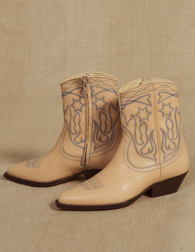산드로 Im 자수 가죽 카우보이 부츠 - 샌드 Sandro Embroidered Leather Cowboy Boots,Sand