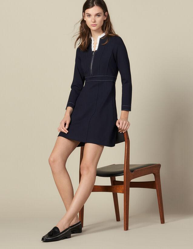 산드로 원피스 Sandro Short Topstitched Dress, Ruffled Collar,Navy Blue