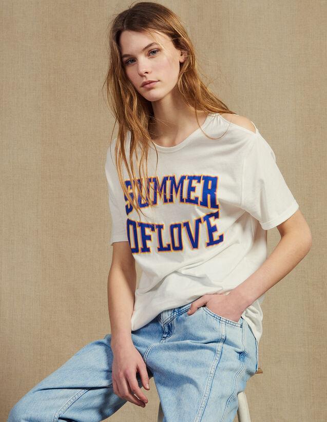 산드로 Ouance 반팔티 Sandro T-shirt with cut-outs on the shoulders,white