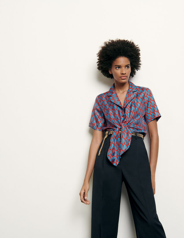 산드로 파자마 셔츠 Sandro Printed silk pajama shirt,Blue