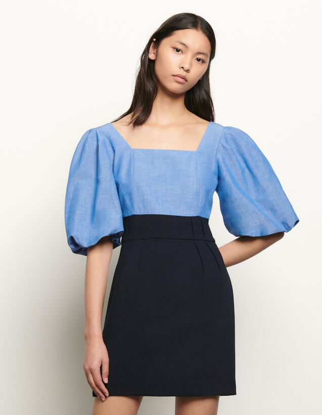 산드로 퍼프 소매 스퀘어넥 원피스 - 블루 Sandro Dual material dress with square neckline