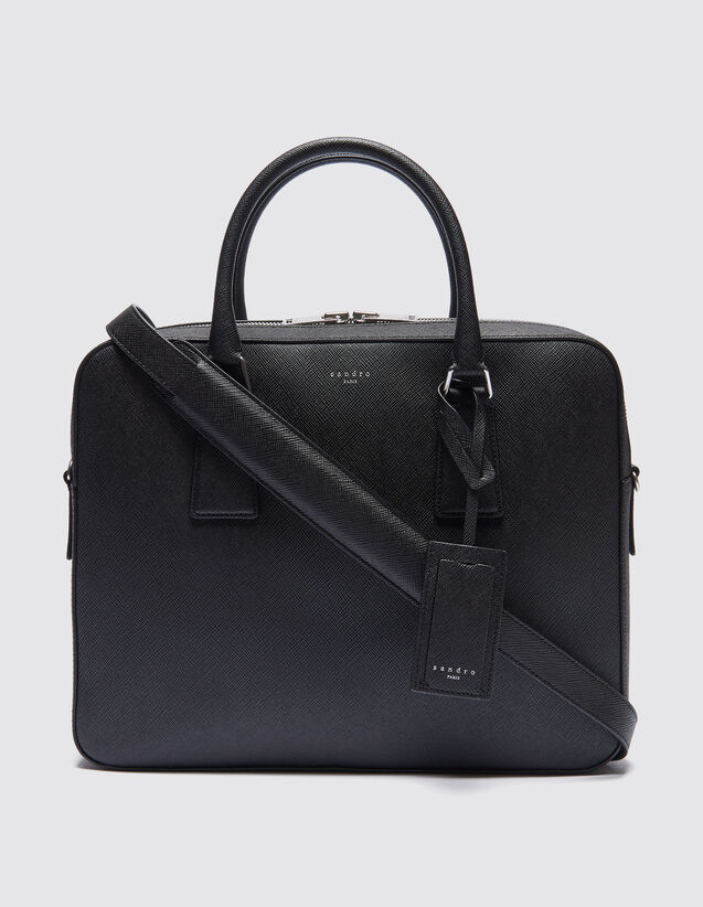산드로 산드로 산드로 Sandro Saffiano leather briefcase,Black