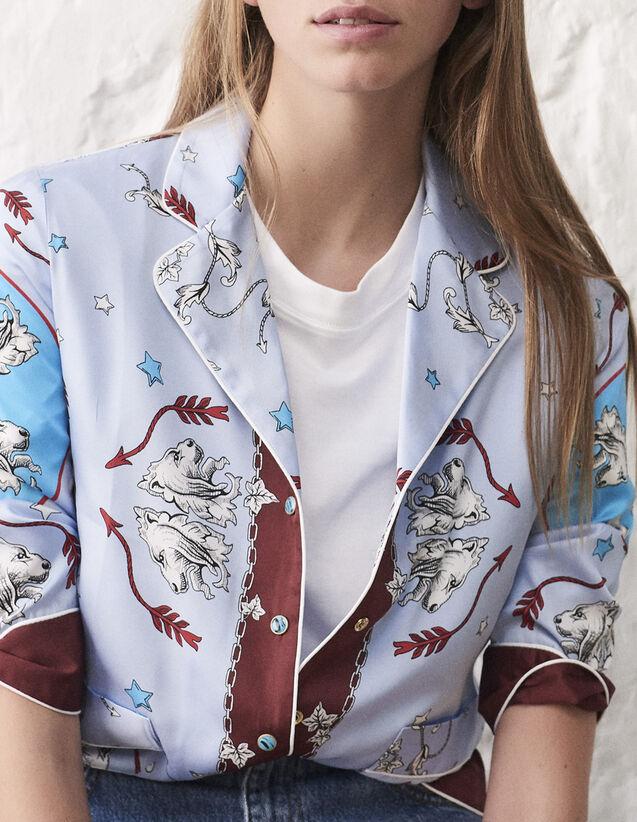 산드로 산드로 Sandro Pyjama-style shirt with lion print,Blue