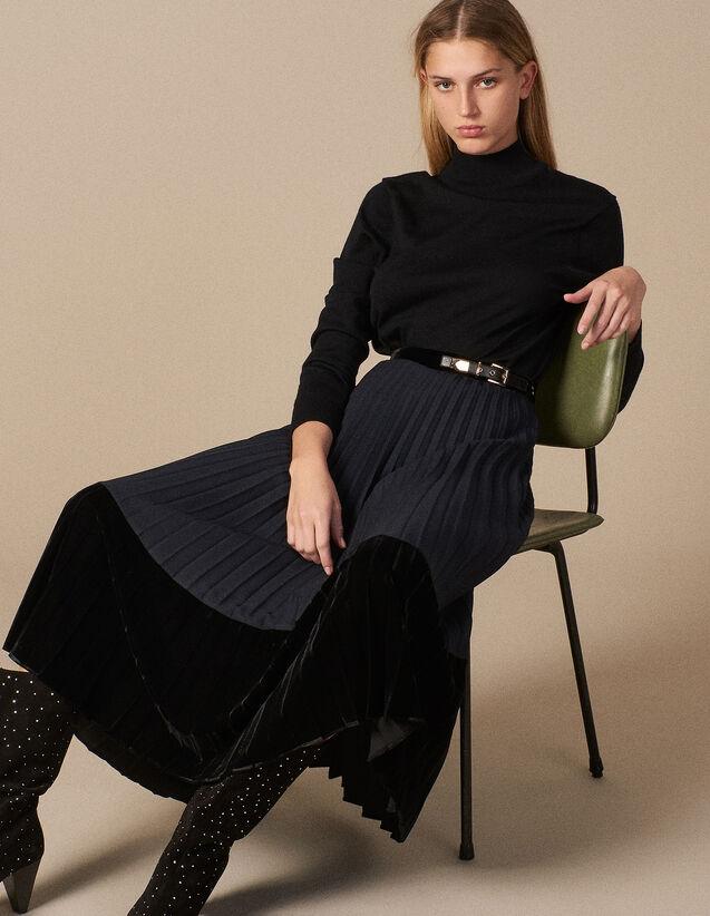 산드로 산드로 Sandro Long pleated dual material skirt,Deep Navy