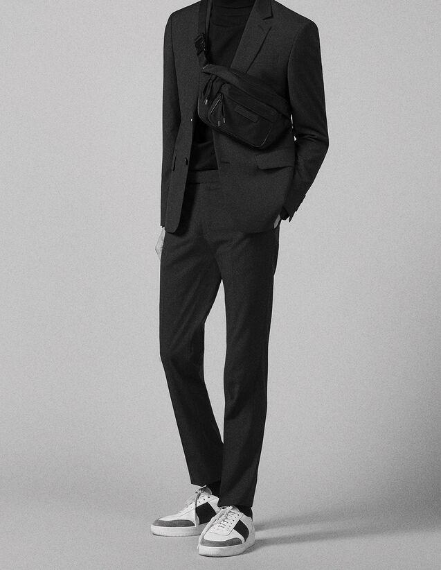 산드로 Sandro Virgin wool suit trousers,Charcoal Grey