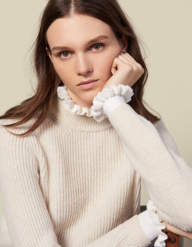 산드로 Sandro High-neck sweater and contrasting cuffs,Beige