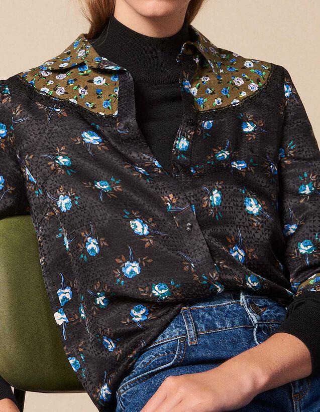 산드로 산드로 Sandro All-over print shirt,Black