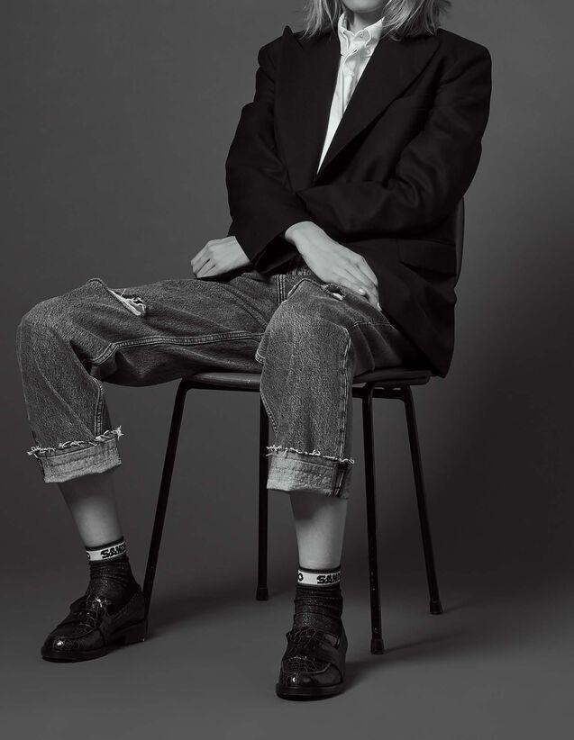 산드로 산드로 Sandro Tailored jacket with Italian collar,Black