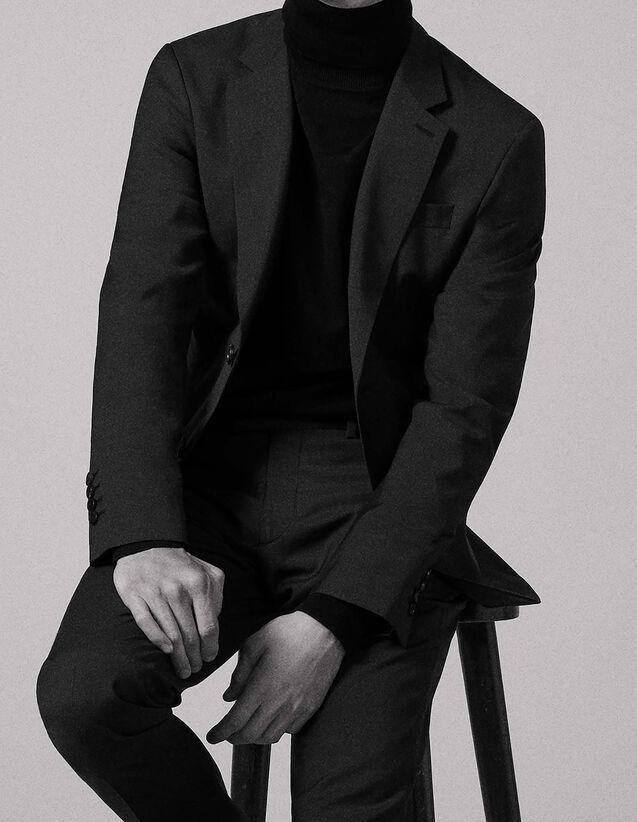 산드로 Sandro Virgin wool suit jacket,Charcoal Grey