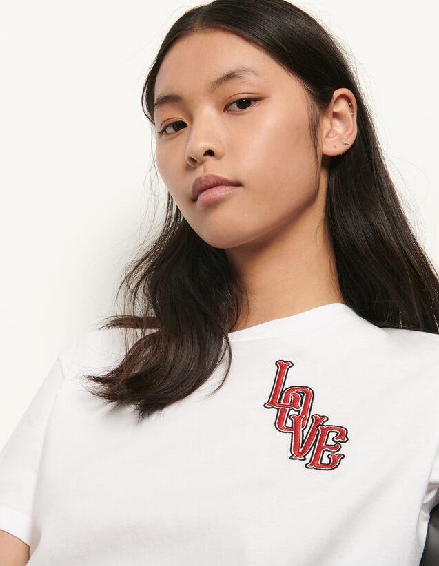 산드로 티셔츠 Sandro Organic cotton T-shirt with patch,white