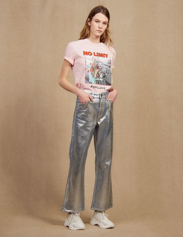 산드로 Sandro High-waisted coated flared jeans,Silver