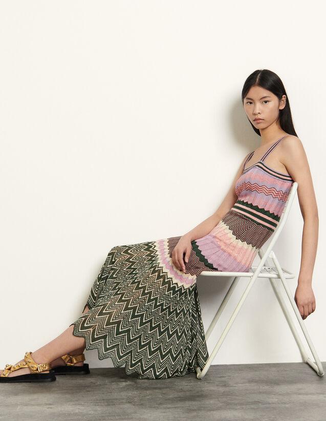 산드로 지그재그 패턴 니트 원피스 Sandro Knit dress with stripes, Pink / Khaki
