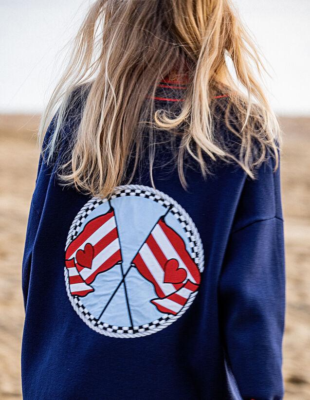 산드로 Sandro Cardigan with embroidery on the back,Navy Blue