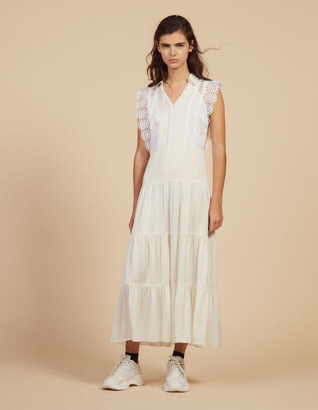 산드로 미니 원피스 Sandro Midi Dress Decorated With Lace Trims,Ecru