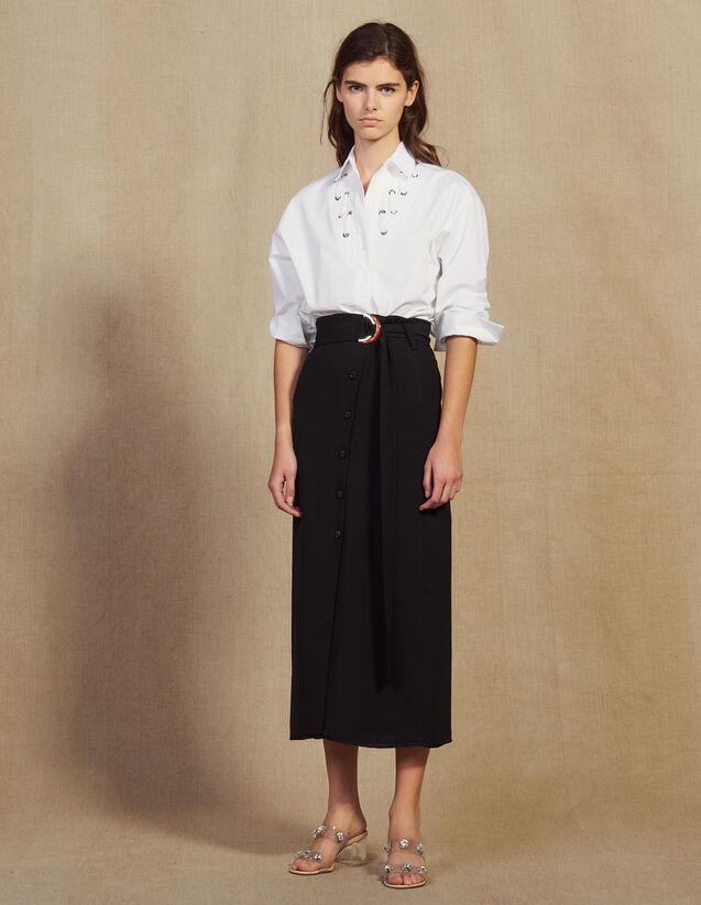 산드로 롱 치마 Ellan 롱 스커트 Sandro Long wrapover skirt,Black