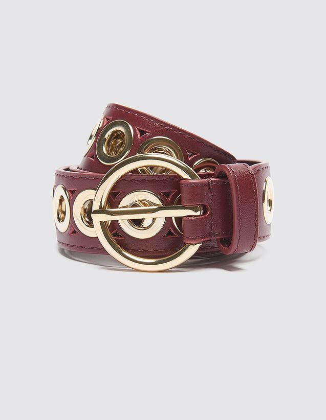 산드로 Delia 라운드 버클 벨트 SANDRO Belt with round buckle and eyelets,Burgundy