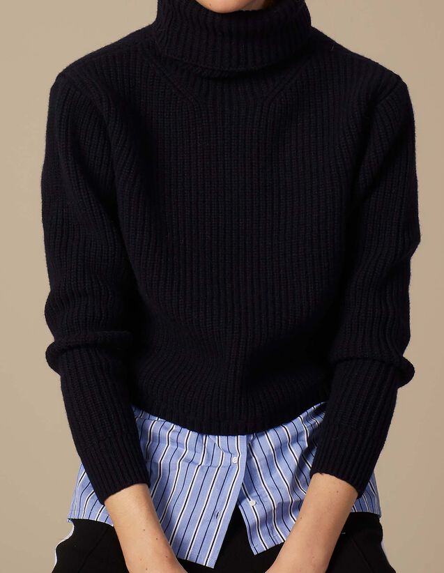 산드로 Alament 스웨터 SANDRO Trompe l'oeil wool sweater with roll neck,Deep Navy