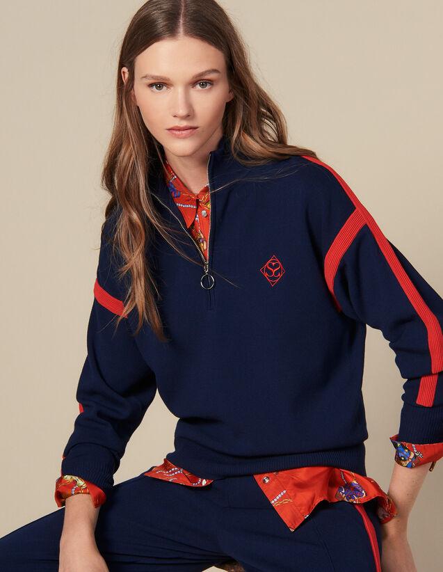 산드로 터틀넥 스웨터 Sandro Turtleneck Sweater,Navy Blue