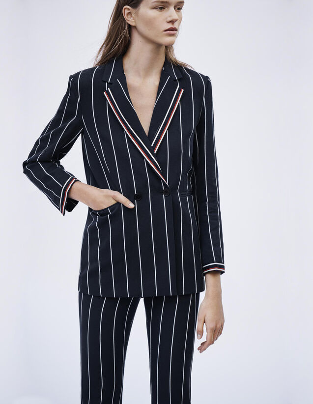 산드로 Sandro Matching striped blazer,Navy Blue