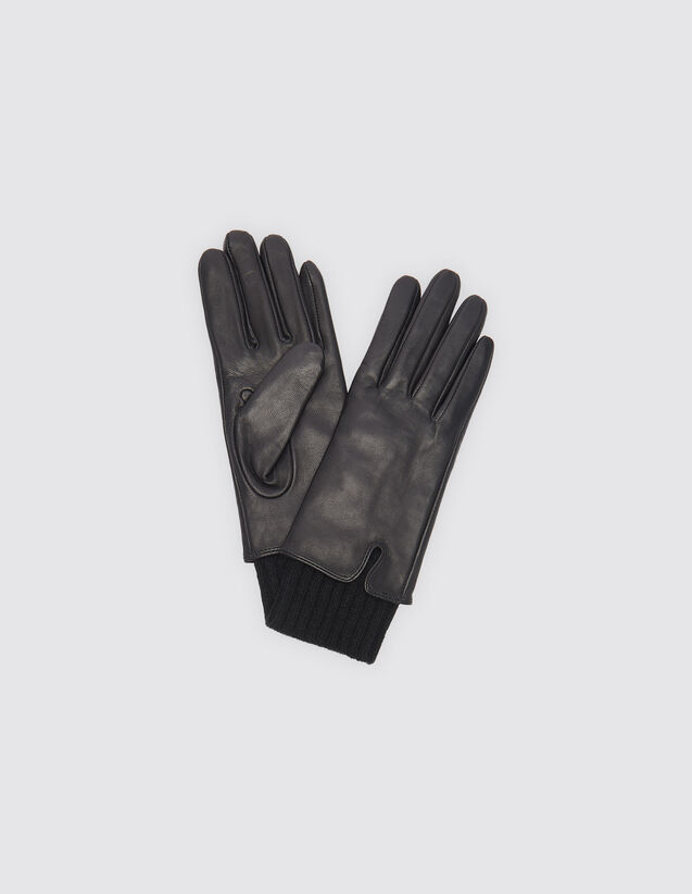산드로 SANDRO Smooth leather gloves,Noir/Noir