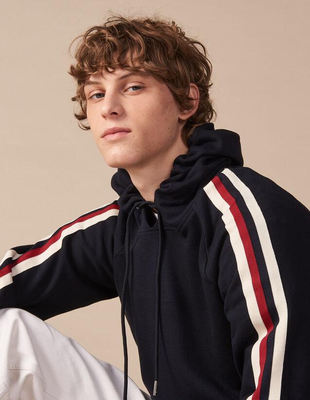 산드로 Sandro Hoodie sweatshirt with coloured trim,Navy Blue