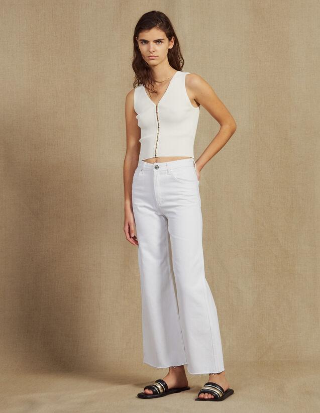산드로 Sandro High-waisted flared jeans,white